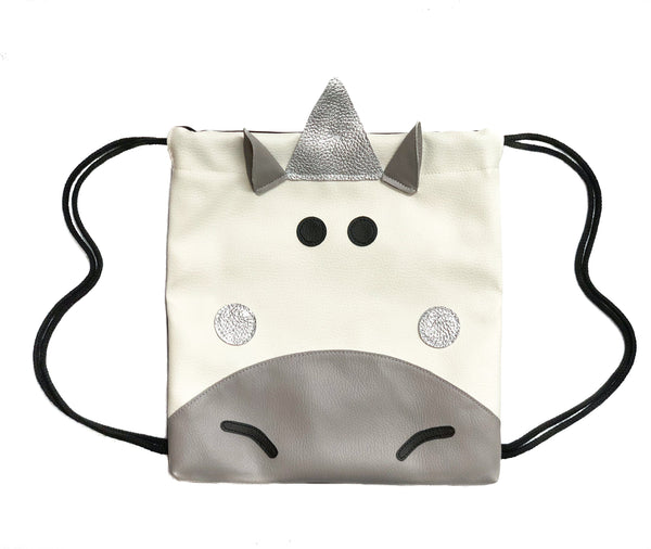 Unicorn Grey - Backpack-Little Lambo kids backpack drawstring animal