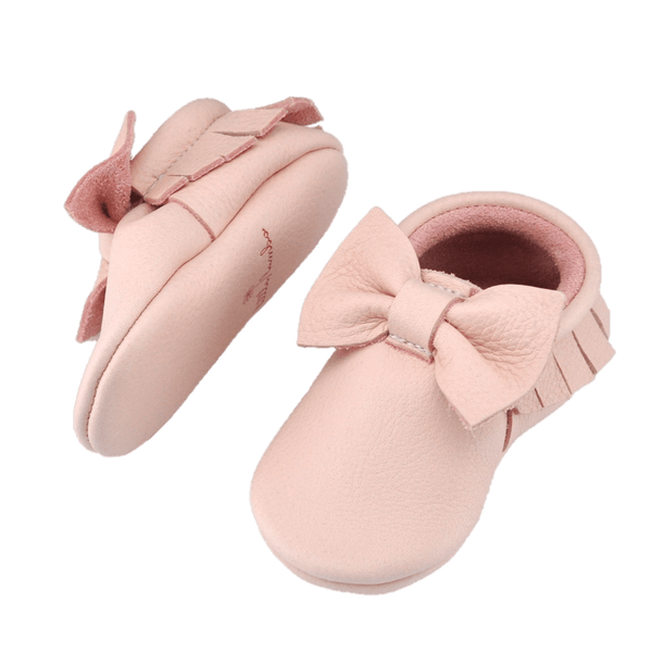 Blush - Bow-Little Lambo vegetable tanned baby moccasins