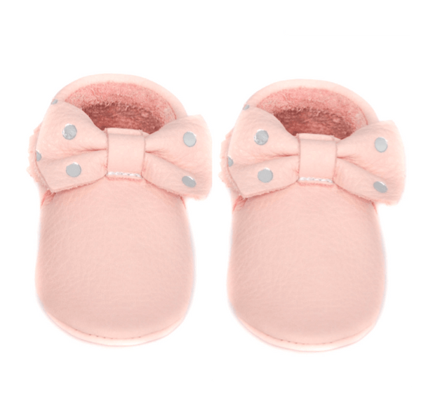 Blush bow silver dots - LIMITED EDITION, Moccasins - Little Lambo
