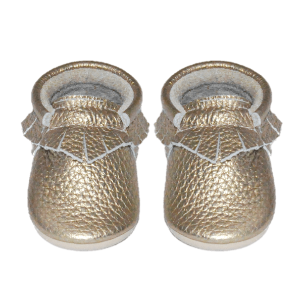 Gold-Little Lambo vegetable tanned baby moccasins