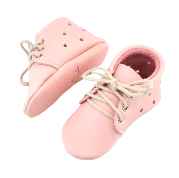 Blush Heart Booties, Moccasins - Little Lambo