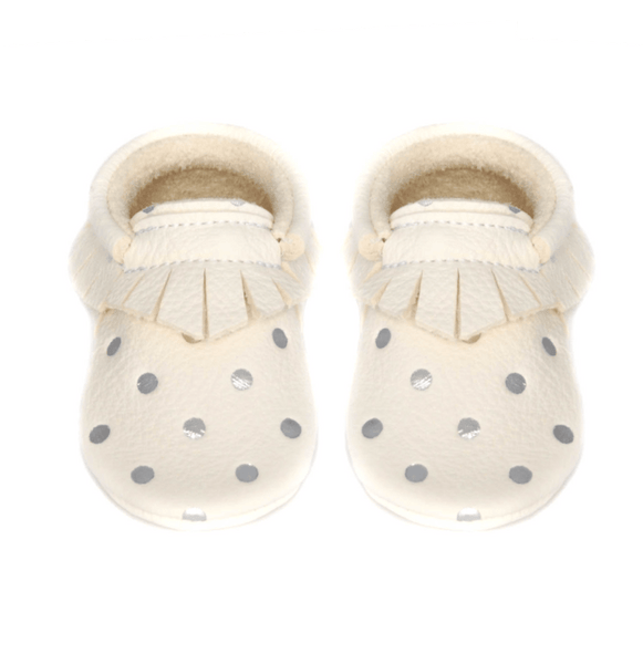 Milk silver dots- LIMITED EDITION, Moccasins - Little Lambo