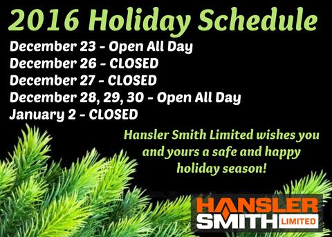 Hansler Smith 2016 Holiday Hours | Hansler.com