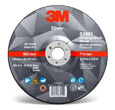 Grinding Wheel - 3M Silver Depressed Center 87452, T27, black, 9 in x 1/4 in x 7/8 in (22.86 cm x 6.35 mm) AB87452 - Hansler.com
