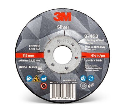 Grinding Wheel - 3M Silver Depressed Center 87453, T27, black, 4 1/2 in x 1/4 in x 7/8 in (11.43 cm x 6.35 mm) AB87453 - Hansler.com