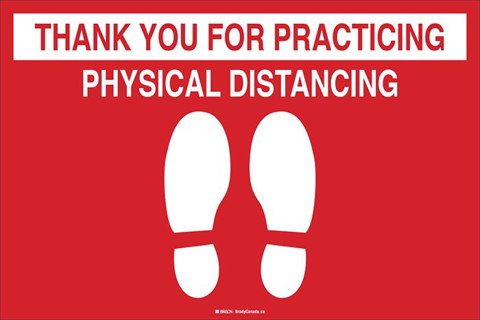"Anti-Slip Floor Decal - Brady Thank You for Practicing Physical Distancing w/Pictogram, 12"" H x 18"" W - Hansler.com"