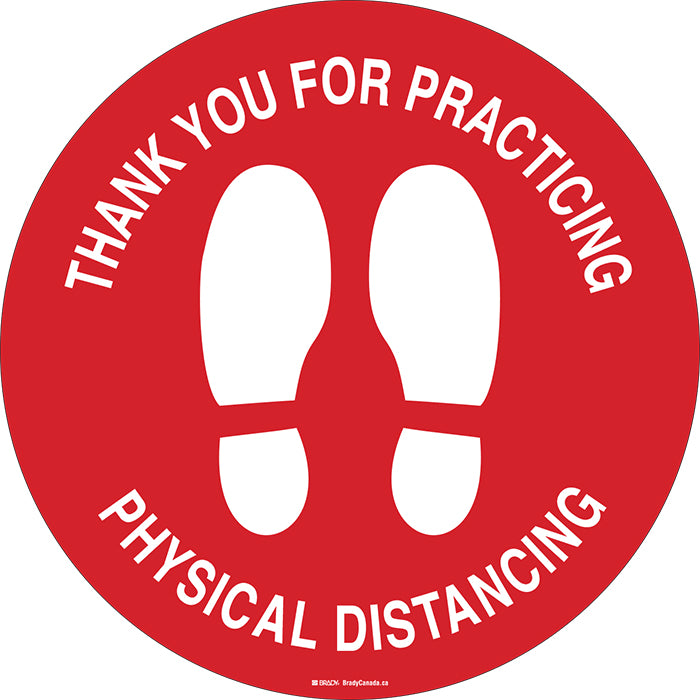 "Anti-Slip Floor Decal - Brady Thank You for Practicing Physical Distancing w/Pictogram, 17"" Diameter - Hansler.com"