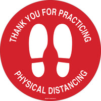 Anti-Slip Floor Decal - Brady Thank You for Practicing Physical Distancing w/Pictogram, 17