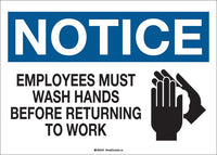 Sign - Brady Notice Employees Must Wash Hands w/Pictogram, 10