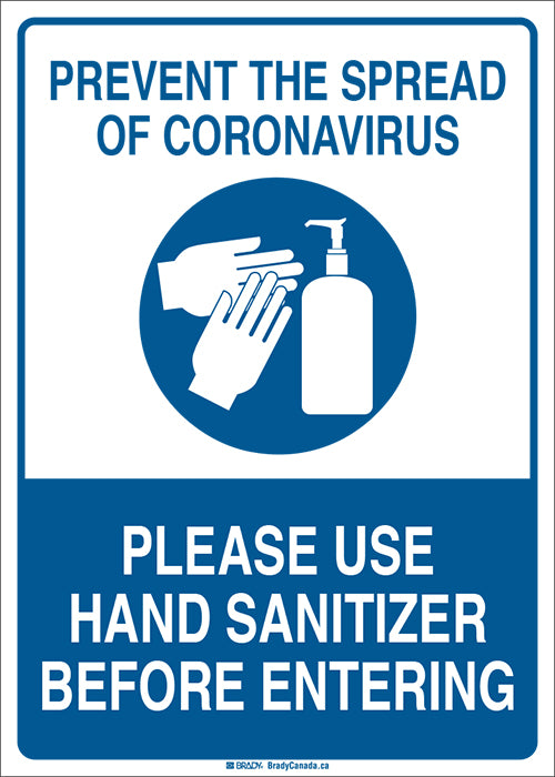 "Sign - Brady Prevent The Spread of Coronavirus w/ Pictogram, 14"" H x 10"" W - Hansler.com"