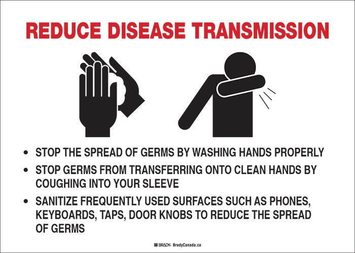 "Sign - Brady Reduce Disease Transmission w/Pictogram, 10"" H x 14"" W - Hansler.com"