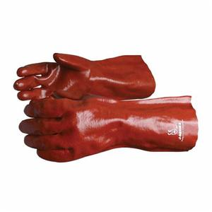 Glove - Chemical Resistant - Superior Glove Chemstop PVC Palm/Coating Cotton Lining Supported Support 14 Inch J236 - Hansler.com