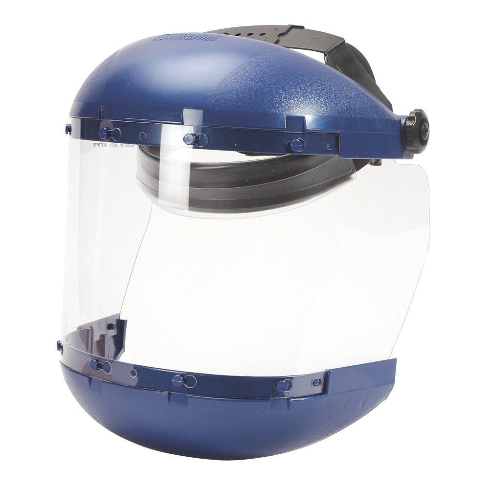 Face Shield & Headgear - Sellstrom Dual Crown with Ratcheting Headgear - Clear Tint - Uncoated S38110 - Hansler.com