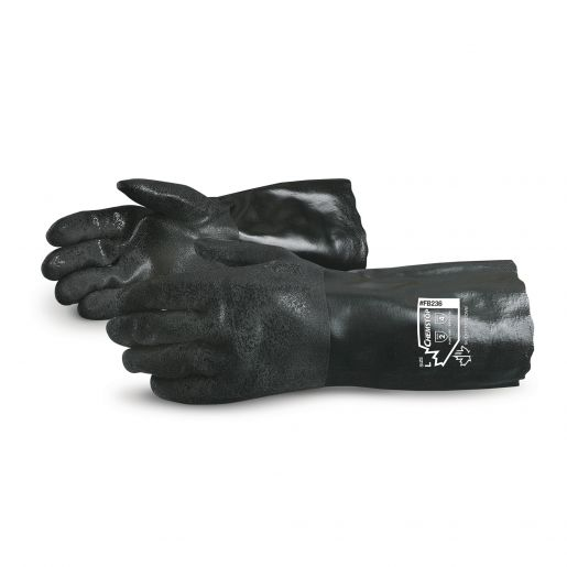 Glove - Chemical Resistant - Superior Glove Chemstop Double Dipped 14 Inch PVC/Thermoplastic Polymer Fleece/Jersey Lining FB231 - Hansler.com