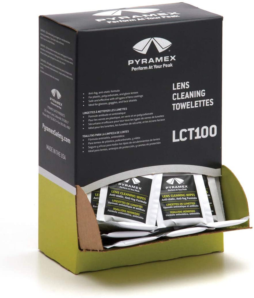 Lens Cleaning Towelettes - Pyramex Anti-Fog & Anti-Static (Box of 100) LCT100 - Hansler.com