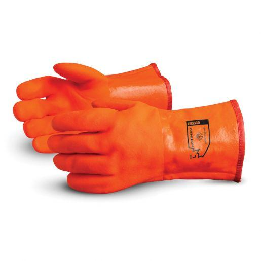 Glove - Chemical Resistant - Superior Glove North Sea Premium PVC Rough Grip Triple Foam Lining Gauntlet Cuff 12 In NS330 - Hansler.com
