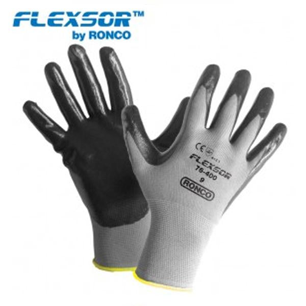 Glove - General Purpose - Ronco Flexsor Nitrile Palm Coated Nylon, (12 Pairs), 76-400 - Hansler.com