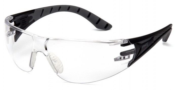 Protective Glasses - Pyramex Endeavor Plus Clear H2X Anti-Fog Lens with Black and Gray Temples SBG9610ST - Hansler.com