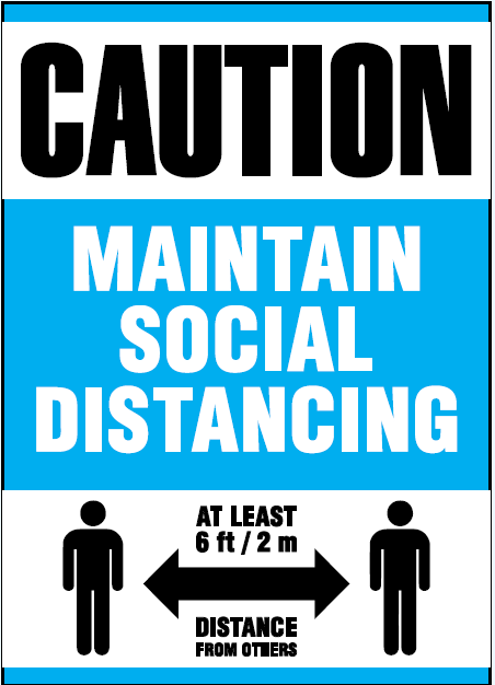 "Sign - Ketchum Caution Maintain Social Distancing 10"" W X 14"" H - Hansler.com"