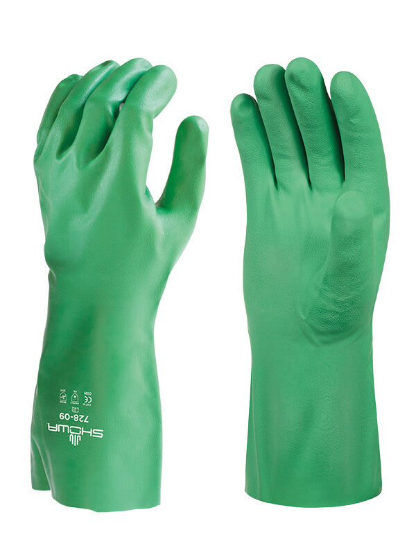 Glove - Chemical Resistant - Showa 728 Unlined 100% Biodegradable Nitrile Long - Hansler.com