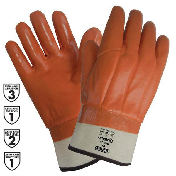 Glove - Chemical & Cut Resistant Winter - Ronco Integra Single Dipped Jersey Insulated 77-466 - Hansler.com