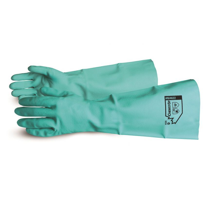 "Glove - Chemical Resistant - Superior Glove Chemstop™ Green 19"" Unsupported Nitrile NI4622 - Hansler.com"