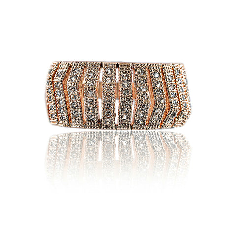 Aurum Mod rose gold-plated wide band cubic zirconia-studded ring