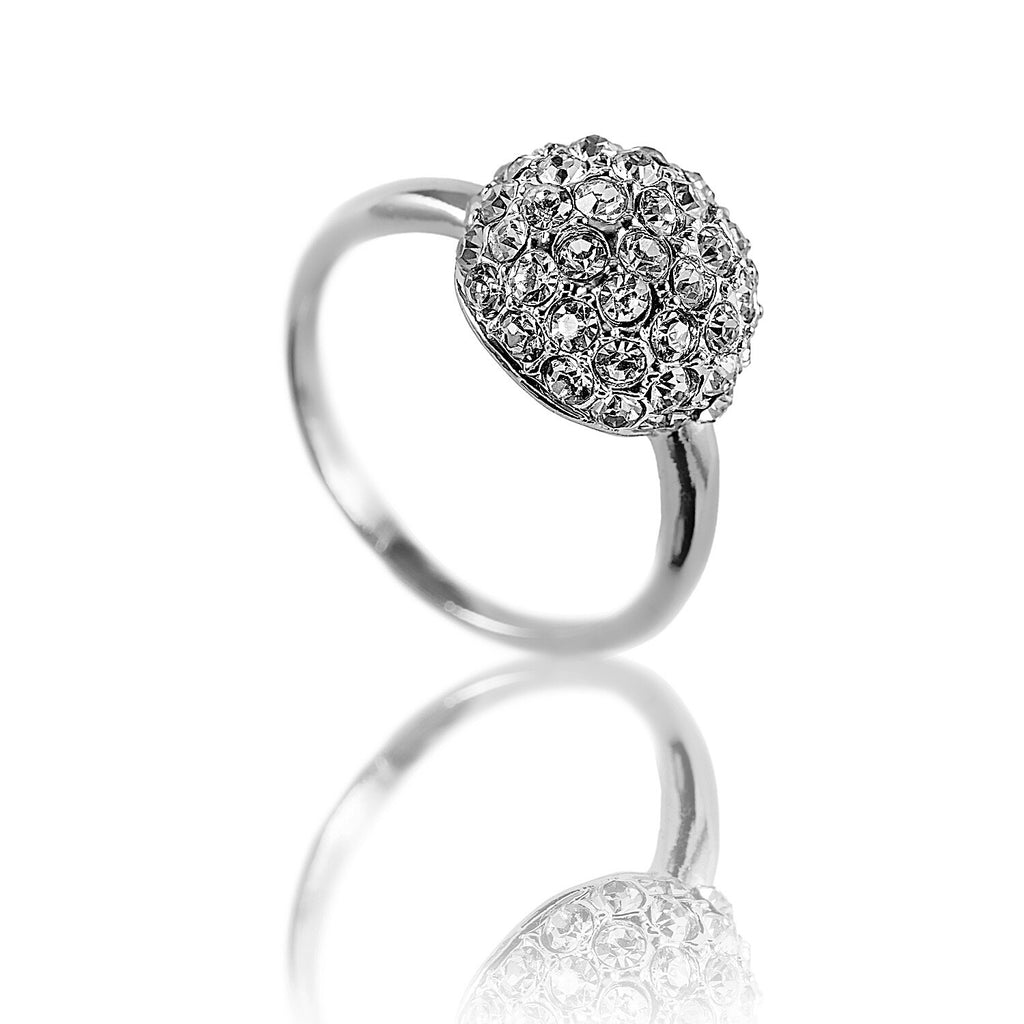 Aurum Mod studded half sphere white gold plated ring