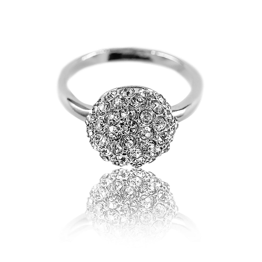 front view of Aurum Mod studded half sphere white gold-plated ring