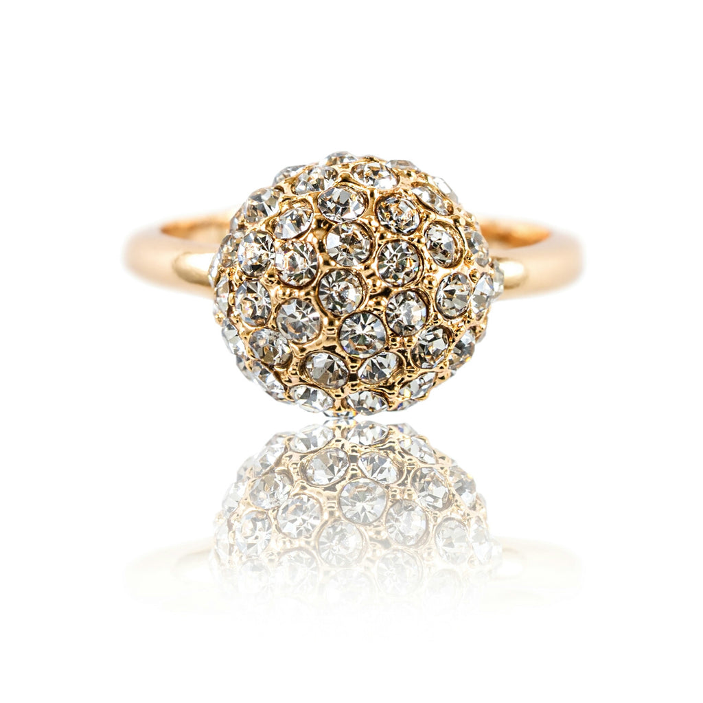 front view of Aurum Mod studded half sphere yellow gold-plated ring