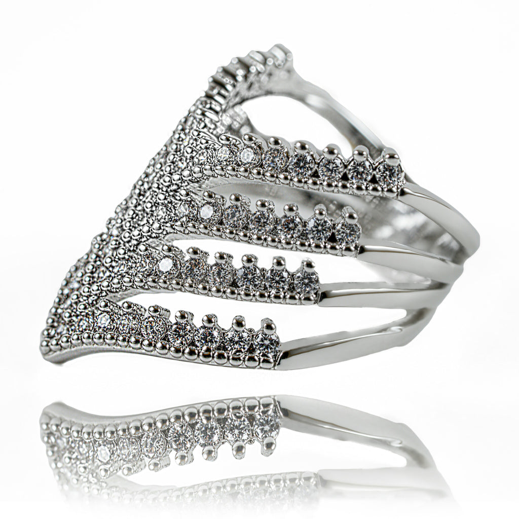 side view of Aurum Mod chevron ring with cubic zirconia stones