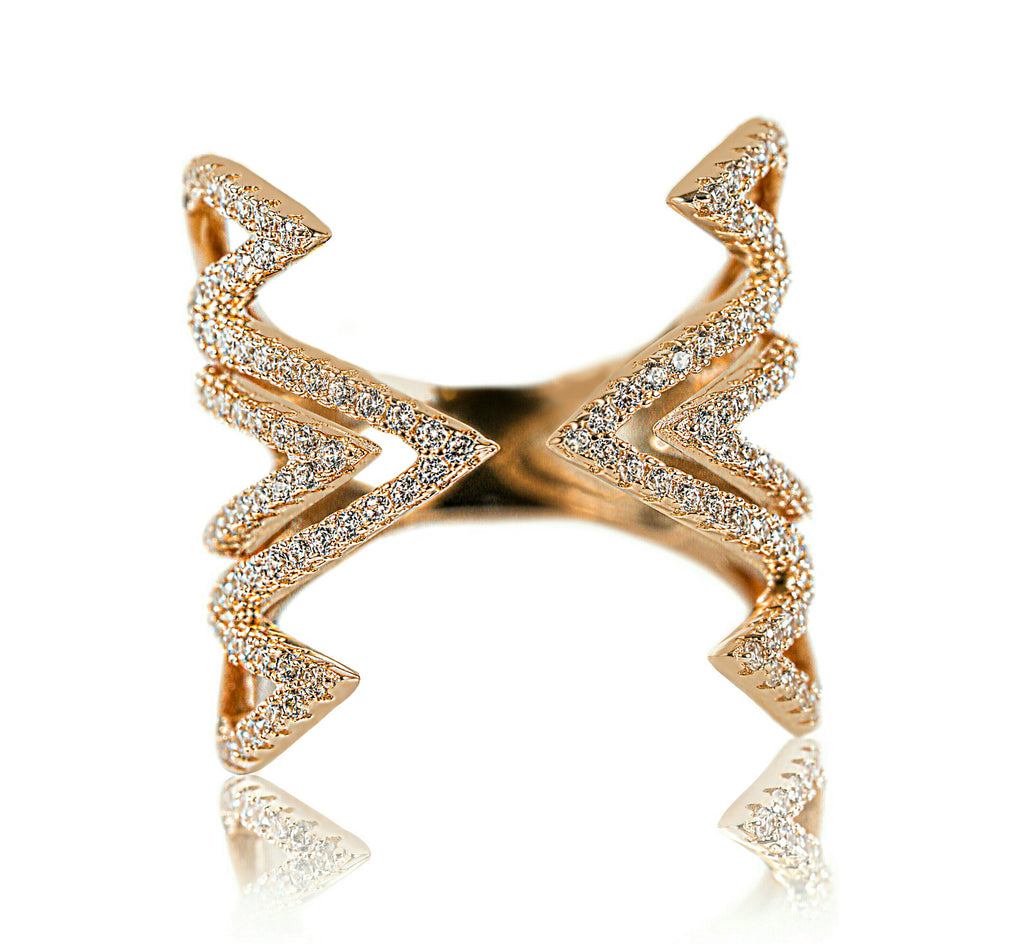Aurum Mod yellow gold-plated geometric studded ring