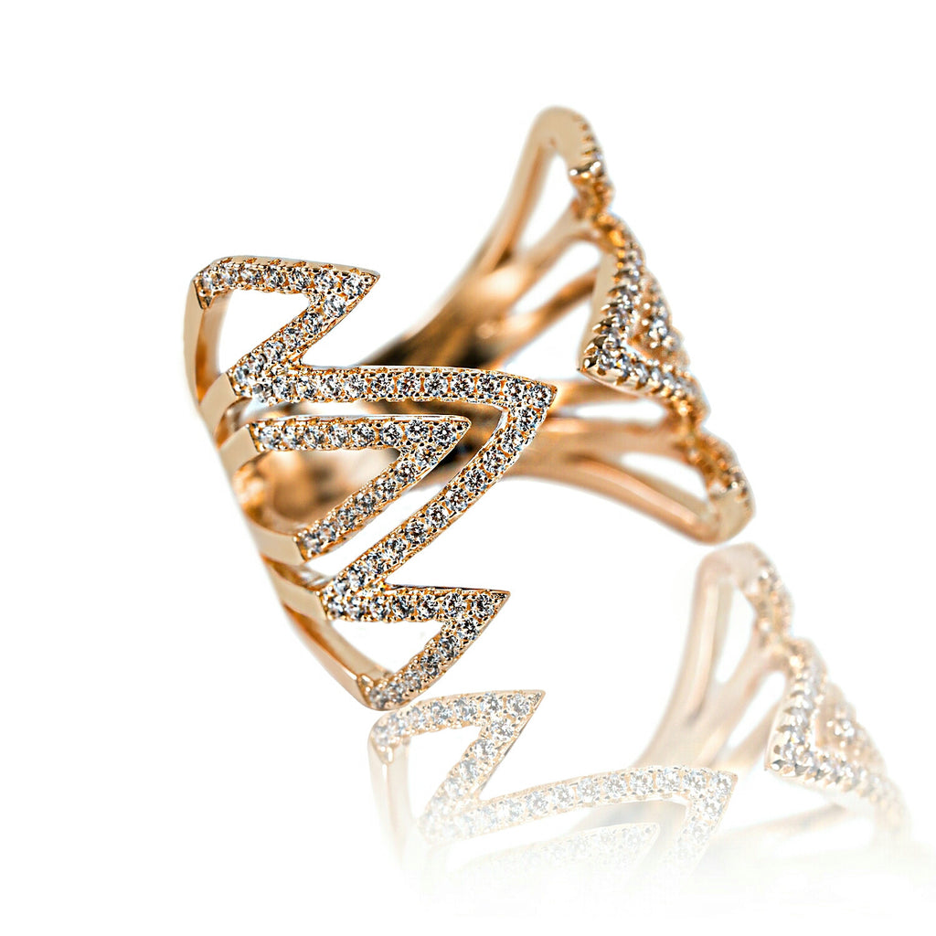 angled view Aurum Mod yellow gold-plated geometric studded ring
