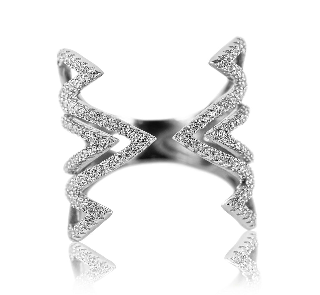 Aurum Mod white gold-plated geometric studded ring
