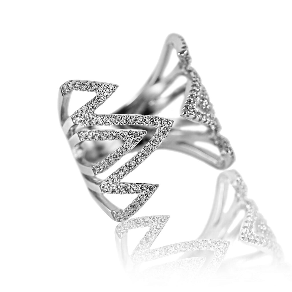 angled view Aurum Mod white gold-plated geometric studded ring
