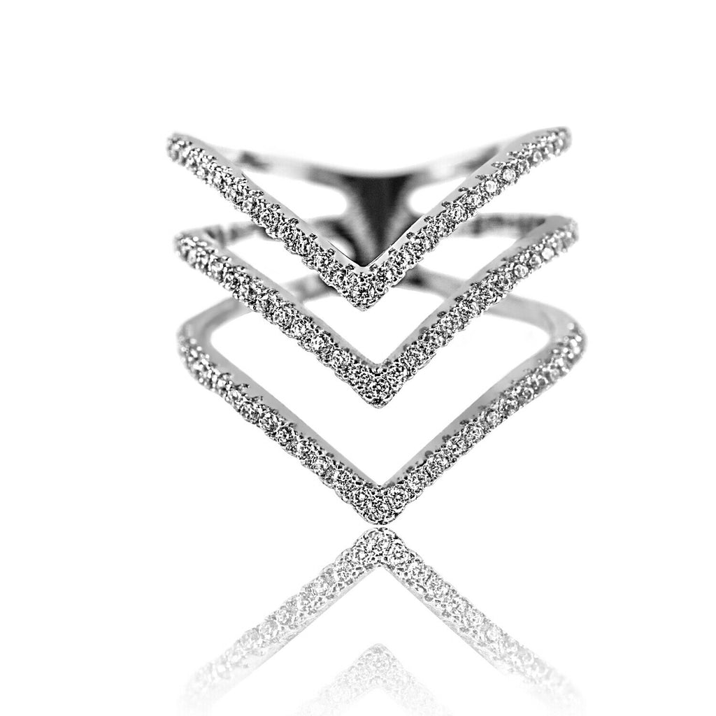 Aurum Mod stacked chevron white gold-plated ring