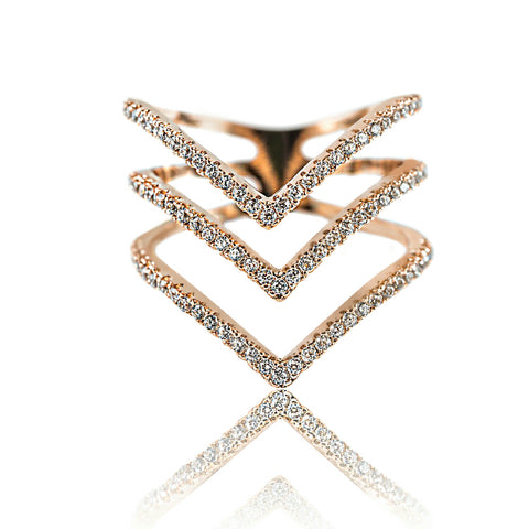 Aurum Mod stacked chevron rose gold-plated ring