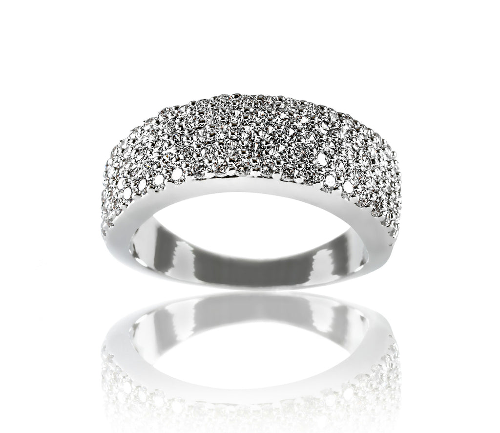 Aurum Mod wide band white gold-plated ring