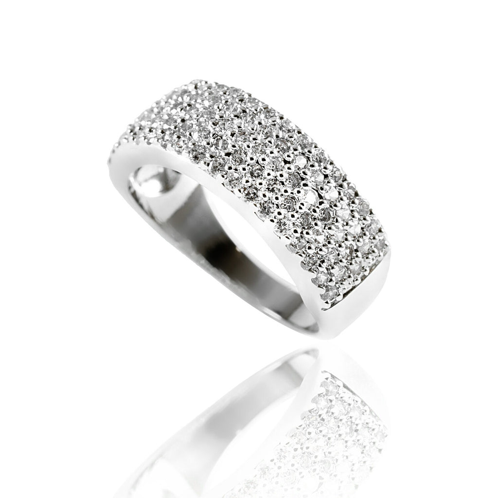 side view of wide band white gold-plated ring Aurum Mod
