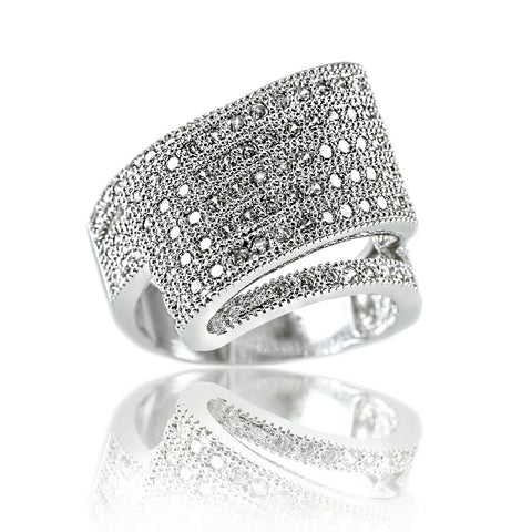 Aurum Mod white gold-plated cubic zirconia studded ring