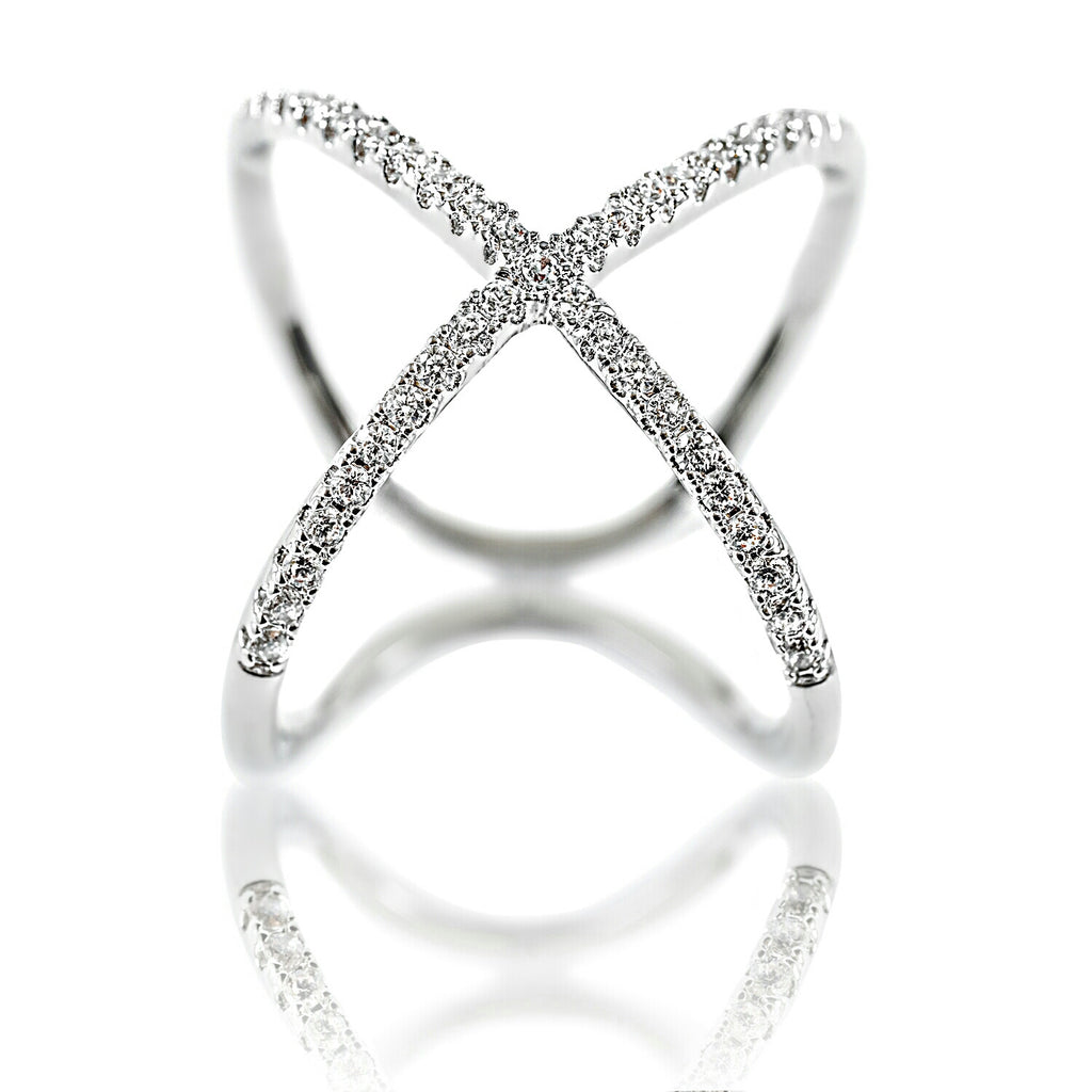 Aurum Mod white gold-plated crossed ring