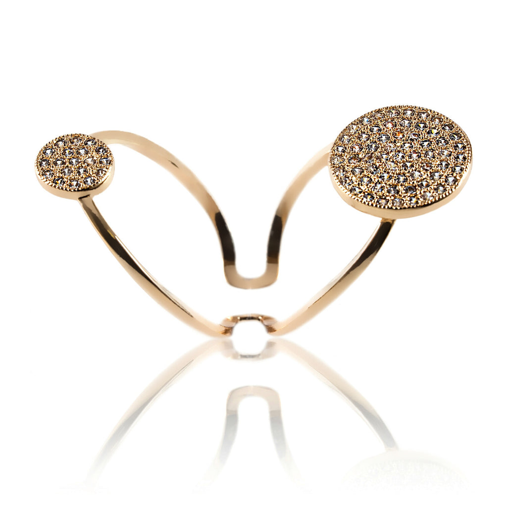 side view Aurum Mod yellow gold-plated studded ring