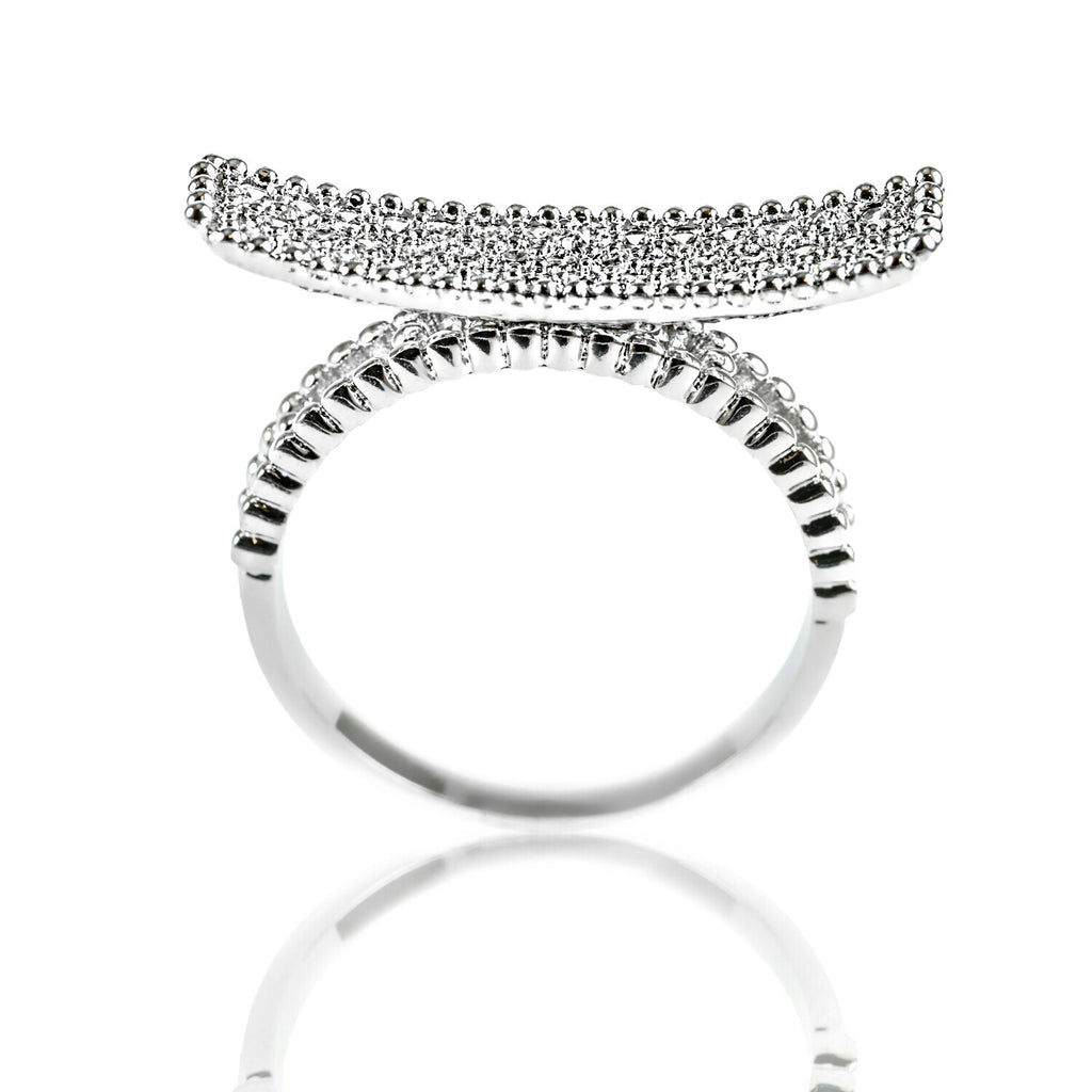 Aurum Mod white gold-plated curved bar studded ring