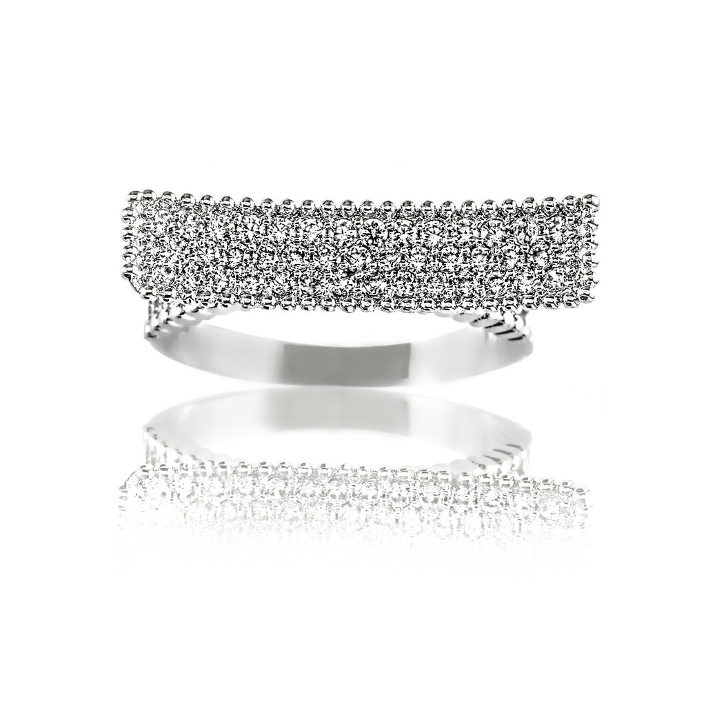 front view Aurum Mod white gold-plated curved bar studded ring