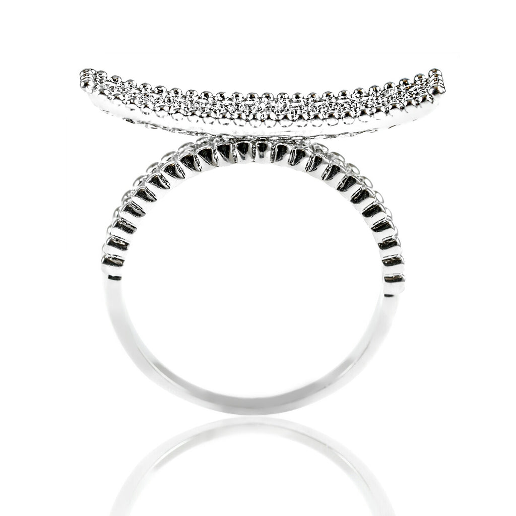 side view Aurum Mod white gold-plated curved bar studded ring