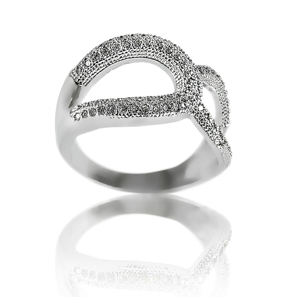 angled view Aurum Mod asymmetrical white gold-plated studded ring