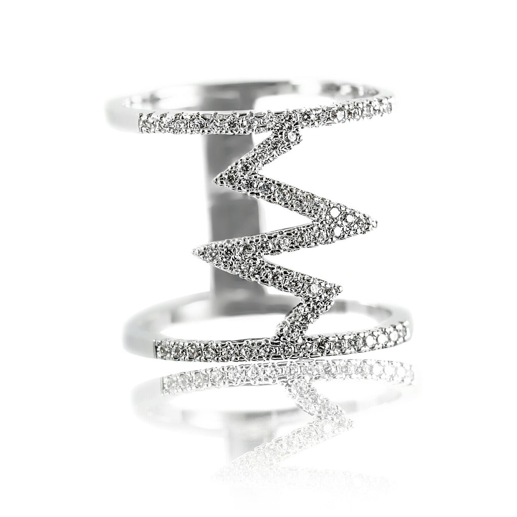 Aurum Mod cubic zirconia white gold-plated geometric ring