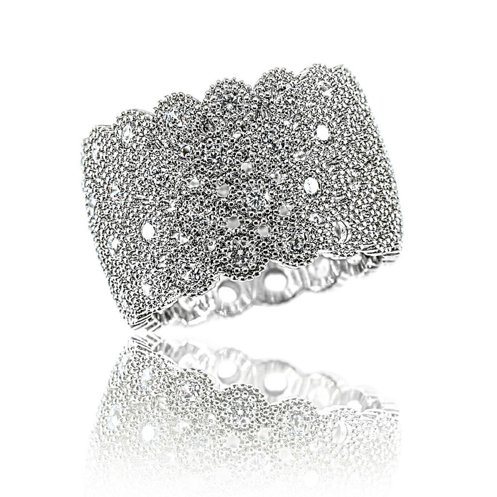 Aurum Mod honeycomb cubic zirconia white gold-plated ring