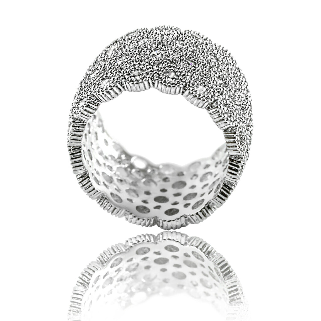 side view of Aurum Mod honeycomb cubic zirconia white gold-plated ring
