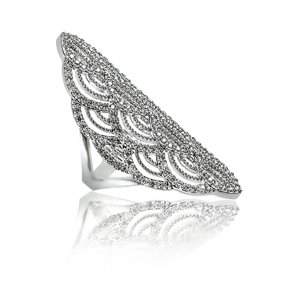 angled view intricate Aurum Mod cubic zirconia studded contemporary ring
